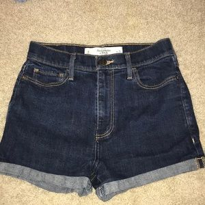 Abercrombie high waisted jean shorts dark wash